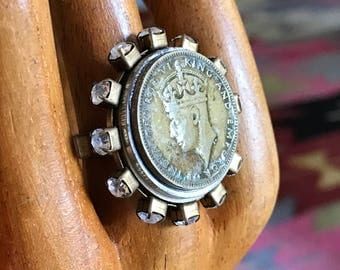 George VI Coin Rhinestone Ring Adjustable - all PROFITS donated to the ACLU