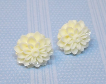 Metal Free Off White Mum Earrings, Chrysanthemum Posts,nonmetal,plastic stud earrings, metal allergies,sensitive ears, Spring, Neutral color
