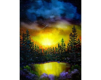 Forest Lake In Twilight Wall Art Shooting Star Sunset Impressionist Landscape Pine Trees Iverson 11x14 Original Painting on Canvas