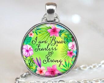 Phrase Art Pendant, Watercolor Art Pendant, Flower Art Necklace, Floral Art Jewelry,  Flower Glass Pendant, Bronze, Silver, Art Pendant, 115