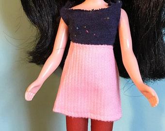 Pink Corduroy Mod Mini Skirt for Blythe