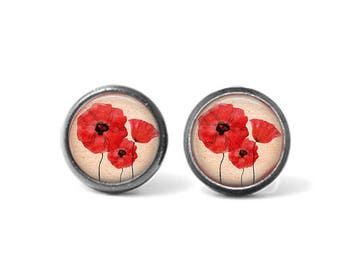 Handmade Photo Earrings, Altered Art Earrings, Stud Earrings, Post Earrings, RED POPPIES, Flowers
