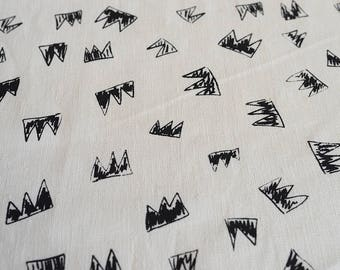 Fabric panel - Crowns in black ink on hemp-organic cotton basecloth. Textiles designed and screen printed in Melbourne.