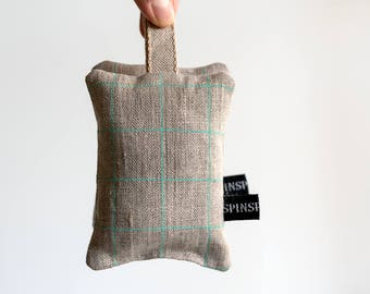 Lavender Sachet - hand screenprinted Grid flax linen fabric filled with 100 per cent Australian lavender, made in Melbourne. Lavender bag.