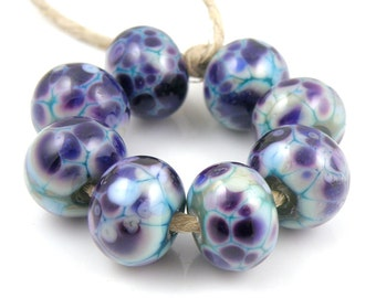 Mardi Gras - Handmade Artisan Lampwork Glass Beads 8mmx12mm - Purple, Violet, Copper Green - SRA (Set of 8 Beads)