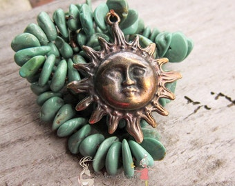SALE Pocket Full of Sunshine | Celestial Sun || Greek Casting | Natural Stones | Earthy | Hand-knotted Necklace | OOAK | Boho | Hippie