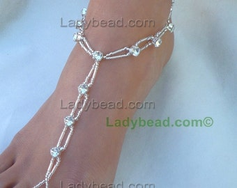 TL11 Silver Bling Rhinestones around the ankle Ladybead Wedding Barefoot Sandals