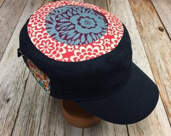 Women's Military Hat - Red and Purple Floral Pattern  - Cadet Hat in Navy Blue