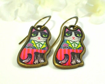 Tuxedo Cats Jewelry Kitty Earrings Posh and Pish  - Cat Earrings - Kitty Jewelry -Cat Lover Jewelry -Cute Cat -Cat Lady Gift -Cat Lover Gift