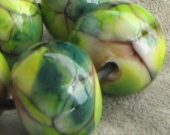 Green Moss  Lampwork Spacer Beads Reactive Variegated sra 2-6 bead set