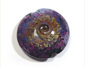 Spring Fling Sale Handmade Glass Lampwork Bead, Raku and Purple Rose Twist, Jumbo Lentil