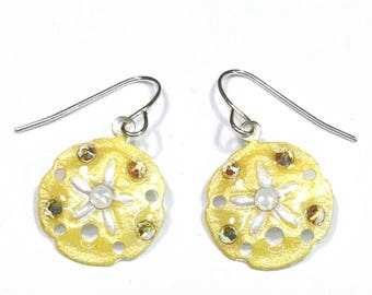 Sanddollar Earrings Handpainted Pearlescent Yellow and White