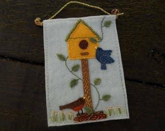 Birds, Birdhouse, Springtime, Kitchen Art, Housewarming Gift, Rustic Fiber Art, Embroidery Art, Wallart