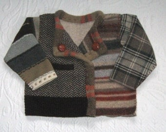 THE LITTLE PROFESSOR . felted sweater . toddler wool sweater .  toddler cardigan  .  made from repurposed  sweaters