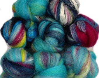 Baby Beluga -- mini batts (2 oz.) BFL wool, bamboo, soysilk, sparkle.