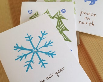 SALE - Mixed Variety of Holiday Cards - New Year Cards - Peace on Earth Cards - Seasons Greetings - Hand Printed - Box Set of 6