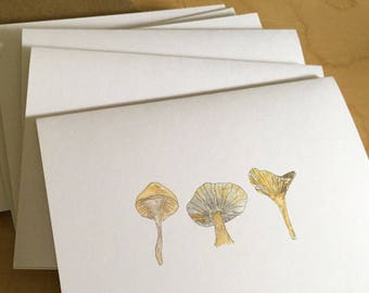 Watercolor Blank Note Cards - Mushroom Note Cards - Mushroom Trio Note Card Set - Botanical Note Cards - Set of 6