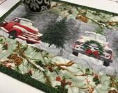 Christmas Mug Rug, Red Truck, Small Quilt, Large Coaster, Mug Rug, Christmas Gift, Stocking Stuffer, Quilted Mug Rug, Patchwork Mini Quilt