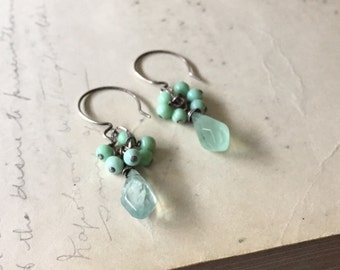 Soft Green Fluorite and Opal Earrings in Sterling Silver. Semiprecious stone jewelry. Pastel Spring Green
