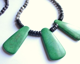 The Carlita- Green Magnesite and Silk Jasper Statement Necklace