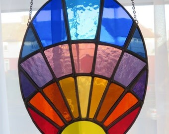 Eye of The Sunrise! Beautiful Oval Stained Glass Suncatcher Panel - pewtermoonsilver