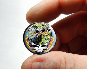 25mm 20mm 16mm 12mm 10mm or 8mm Glass Cabochon - Grateful Dead Steal Face Head Design 15 - for Jewelry and Pendant Making