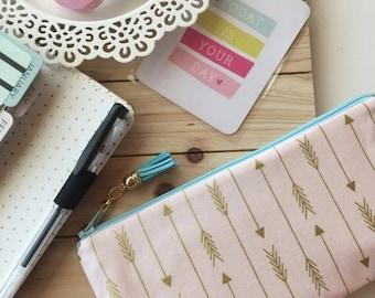 SALE - Gold arrows on pink pouch ,  pencil pouch , colorful zipper pouch , pen case , planner pouch , tassel charm pull , school bag