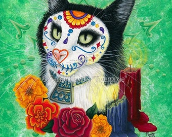 Day of the Dead Cat Art Cat Painting Gothic Candles Mexican Sugar Skull Cat Art Original Canvas Painting 11x14 Art For Cat Lover