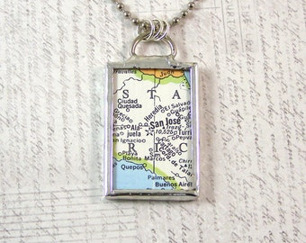 Costa Rica Map Pendant Necklace