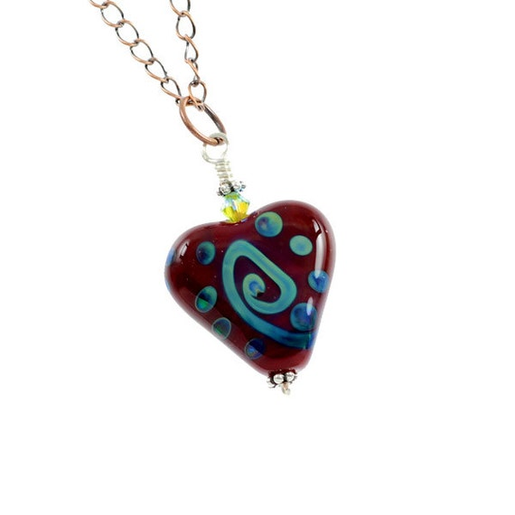 Ocean Love - Lampwork Glass Heart Necklace