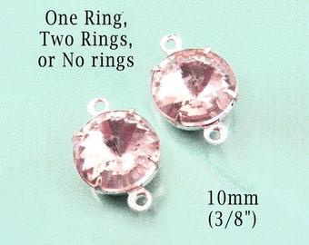 Pink Glass Beads, 10mm Round Rivoli Glass Gems, Silver or Brass Settings, 45ss, Rhinestones, Cabochon, Light Rose Pink, One Pair