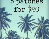 5 iron on patches for 20 dollars, embroidered patches,  stocking stuffers, felt patches, appliques