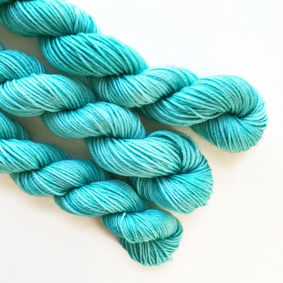 atlantic / hand dyed yarn / mini skein / sock fingering yarn / merino wool superwash / embroidery / 4 ply / sparkle / pale blue green yarn
