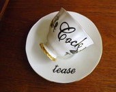 Cock tease hand painted vintage bone china teacup and saucer set recycled humor mismatched valentine erotic sexy