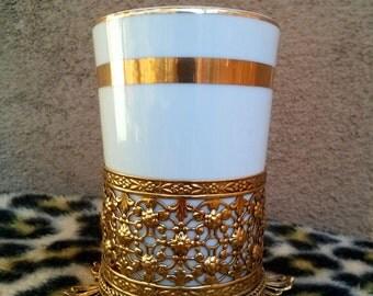 Vintage 1960s Porcelain Cup in Filigree Ormolu Base Bathroom Vanity Decor 2013413
