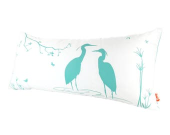 SALE - Mint Green Print on Off White Cotton Egret Lovers in the Swamp Rectangle Pillow