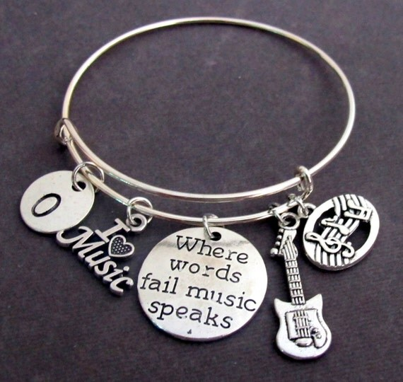 Where Words Fail Music Speaks, Musician gift,Music Bangle Bracelet,I love Music Charm Bangle,Music Jewelry,Guitar Charm,Free Shipping In USA