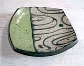 Small Square Dish with Water Pattern