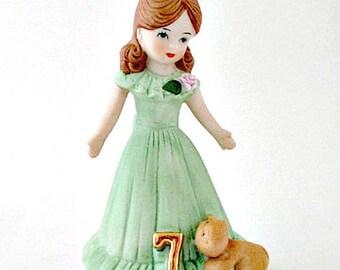 Age 7 Growing Up Birthday Girl Vintage Figurine - 1982 Enesco Birthday Girl Figure Figurine - Cake Topper Birthday Gift