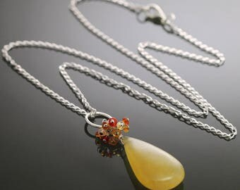 CLEARANCE. Yellow Orange Opal Necklace. Cluster Pendant. Sterling Silver Chain. Genuine Opals. October Birthstone. s09n004