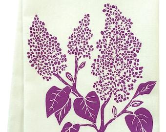 NEW organic lilac block print tea towel