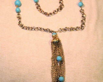Vintage Two Tone Metal and Plastic Bead Tassle Necklace