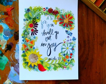 isaiah 55:12 - 5 x 7 inches - for you shall go out in joy