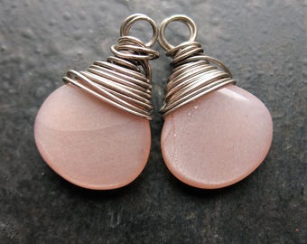 Peach Moonstone Briolette Charms in Antiqued Sterling Silver - 1 pair - 18mm in length