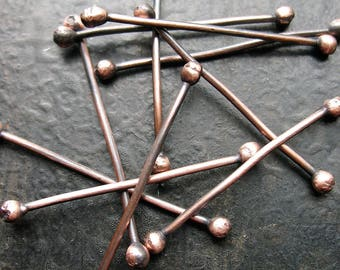 Double Ball Copper Head Pins - set of 10 - 18 gauge - 1.25 inches