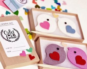 DIY Sewing Kit LOVE BIRDS Pair, Make Your Own Valentine's Day Gift, Wedding Cake Topper, Newlyweds Gift, Friendship Gift, Wedding Keepsake