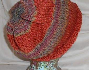 Slouch Hat - Autumnal Stripes Beanie Unisex Knitted Wool Topper