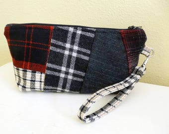 Red Plaid Wool Clutch Wristlet Bag with card slots, Red and Black Patchwork Clutch Bag, Cell Phone Purse