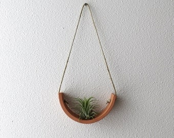Small Hanging Planter Air Plant Cradle - Natural TerraCotta Wall Planter Vase