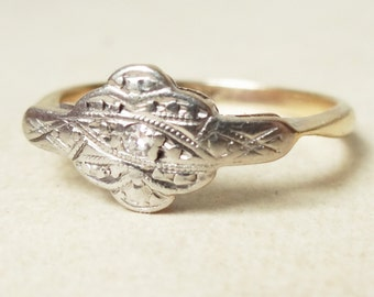 Art Deco Flower Ring, Vintage 9k Gold, Palladium and Diamond Engagement Ring, Approx Size 5.25